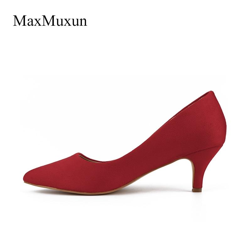 5bd52b8261d MaxMuxun Womens High Heel Pumps Ladies Katy Pointed Closed Toe Suede Dress Pumps  Kitten Heel Stiletto Heels Dance Shoes