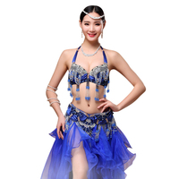 Size S XL Performance 11 Colors Women Dancewear Professional 2pcs Outfit Oriental Beads Costume Belly Dance