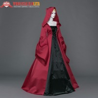 Gothic Black and Wine Red Halloween Witch Cosplay Hooded Dress
