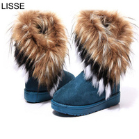 LISSE Suede Women Snow Boots Sewing Slip On Mid Calf Winter Boots Female Faux Fur Warm