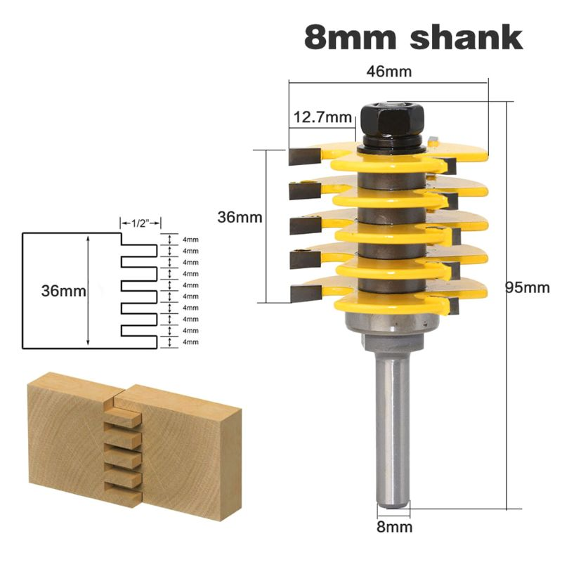 8mm Shank Adjustable Teeth Finger Joint Router Bit Wood Cutter Industrial Grade Tenon Woodworking Tool