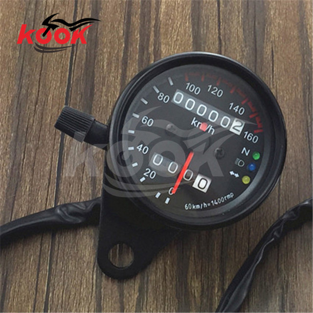 Universal Motorcycle Dual Odometer Speedometer Gauge with LED Backlight Background 12V White black moto pro motorbike Tachometer