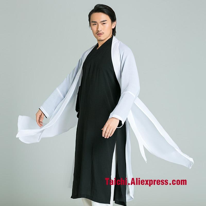Man And Women Handmade Linen Tai Chi Uniform, Kung Fu,martial Art Suit,Taoist Priest Robe, Three Piece Jacket+pants+veil