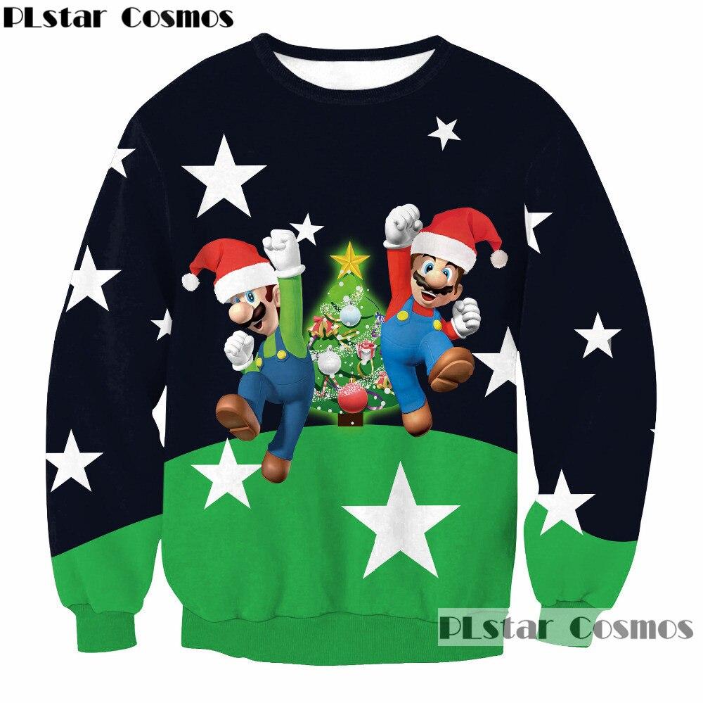 New year Christmas Sweatshirt 3d Festival celebrate Print Creative Pattern Pullovers 2018 New Fashion Men/Women Long sleeved