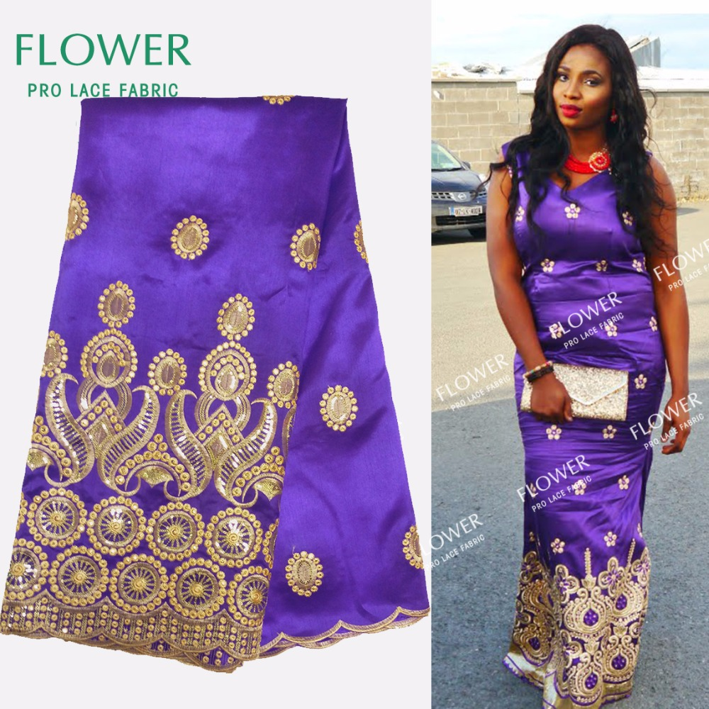 African George Lace Fabric 2017 New style Nigeria George Lace Fabric Purple Sequin Embroidered Fabric For