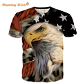 Europea 3D impreso Top de los niños de la personalidad camisetas de moda lobo Animal embudo británico patrón águila adolescente Tees tyh-65588