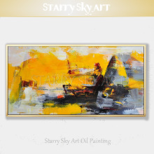High Skills Artist Pure Hand-painted Quality Contemporary Abstract Art Oil Painting on Canvas Yellow