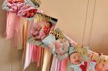 Baby první narozeniny dekorace zlaté písmeny a růžová stuha ručně 12 měsíce fotografický banner jeden rok narozeniny Garland