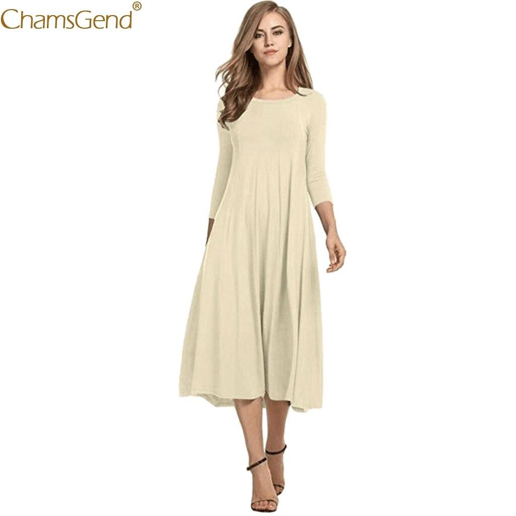 Fashion O-Neck dresses woman party night 2019 summer dress women formal dress women elegant Half Flare SleeveSolid Loose Mar