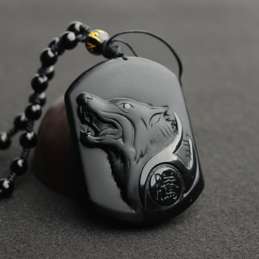 Black Obsidian Carving Wolf Pendant Necklace