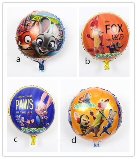 50pcs Lot Free Shipping 18 American Film Zootopia Globals Foil Balloon Helium Birthday