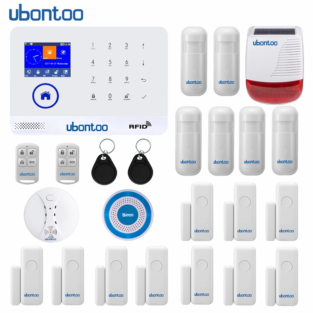 ubontoo EN RU ES PL DE FR IT Switchable Wireless Home Security WIFI GSM GPRS Alarm system APP Remote Control RFID Arm/Disarm marlboze en ru es pl de switchable wireless home security wifi gsm gprs alarm system app remote control rfid card arm disarm