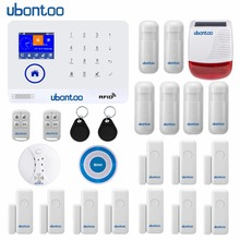 лучшая цена ubontoo EN RU ES PL DE FR IT Switchable Wireless Home Security WIFI GSM GPRS Alarm system APP Remote Control RFID Arm/Disarm