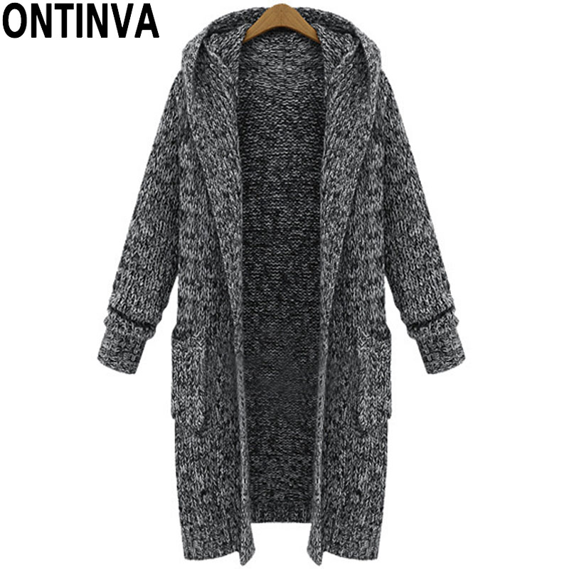 5Xl Xl Black Long Cardigans Sweater With Hat Fashion Women -8945