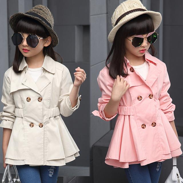 2017 la primavera y el otoño caliente de la manera clásica cazadora de algodón de los niños 4-13 años de edad, niña de doble hebilla de color capa de la cintura