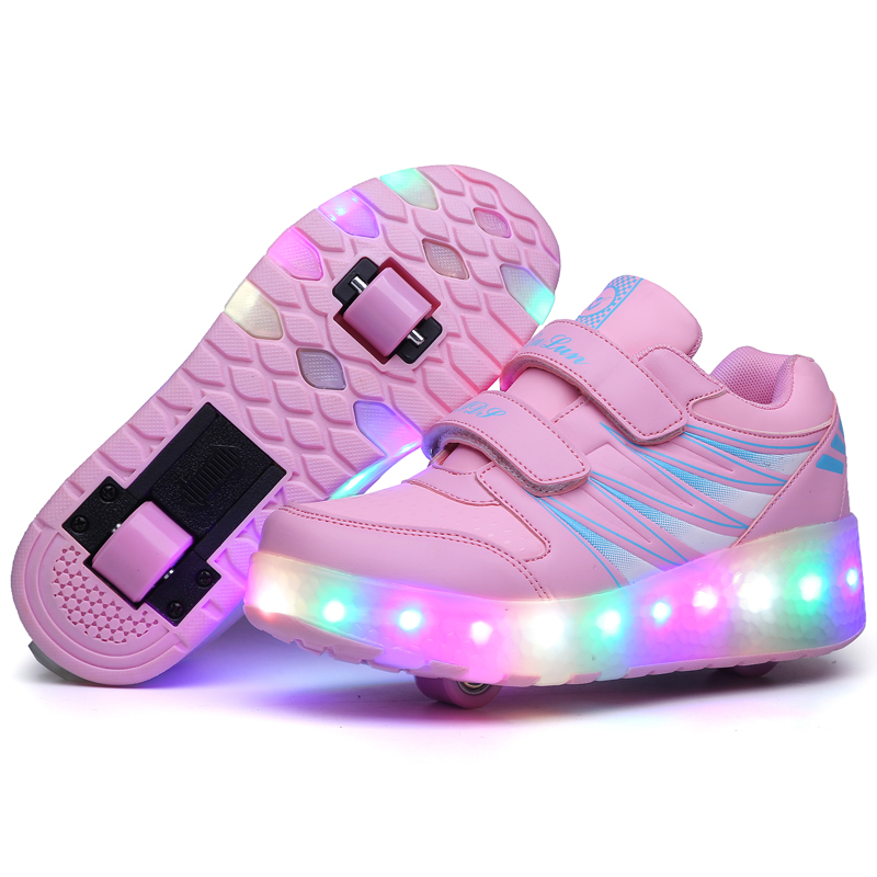 Children LED Shoes Kids Light Up Roller Skate Sneakers With Wheels Boy Girl tenis infantil Glowing Luminous Shoes Pink black children glowing sneakers kids roller skate shoes children led light up shoes girls boys sneakers with wheels tenis infantil