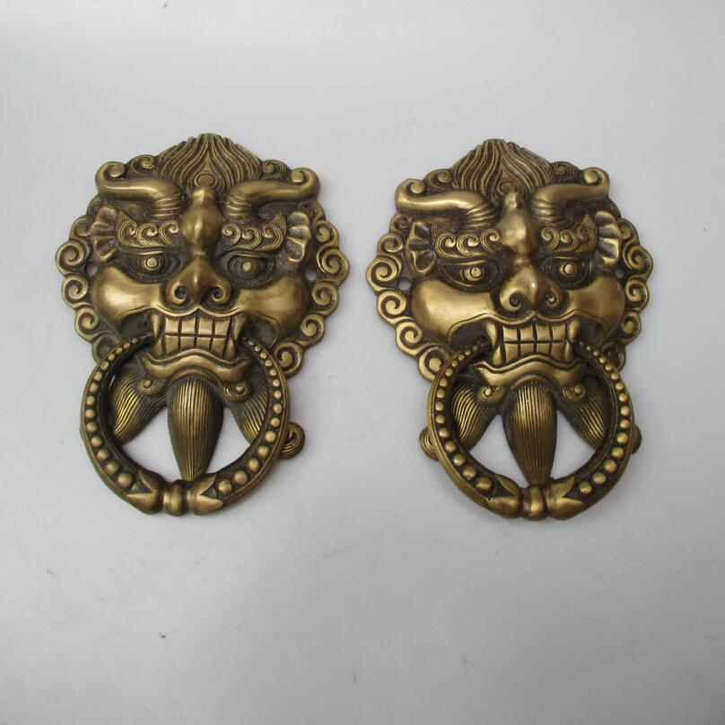 Collectible Home Decorated Crafts 1 Pair Chinese Handwork Brass Big Door Knocker style 00010