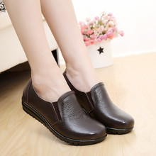Big size 40-43 genuine leather women flats new women loafers comfortable soft bottom mother work shoes