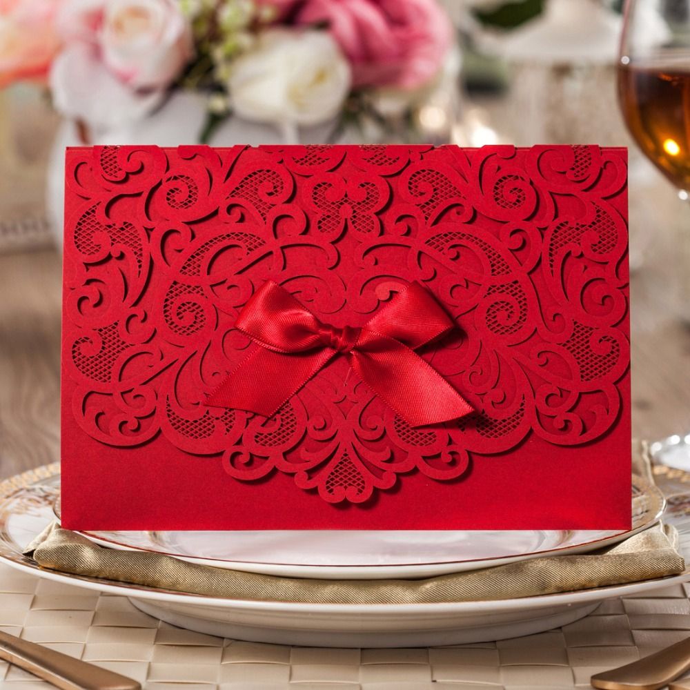 Laser Cut Wedding Invitations Kits with Bowknot Flowers Engagement ...