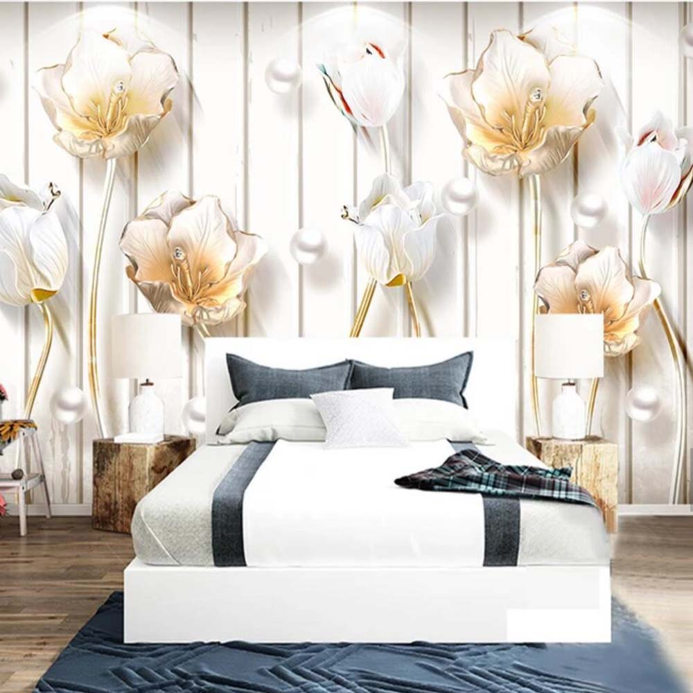 3D Embossed Tulip Flower Wallpaper Murals Wall Paper Roll