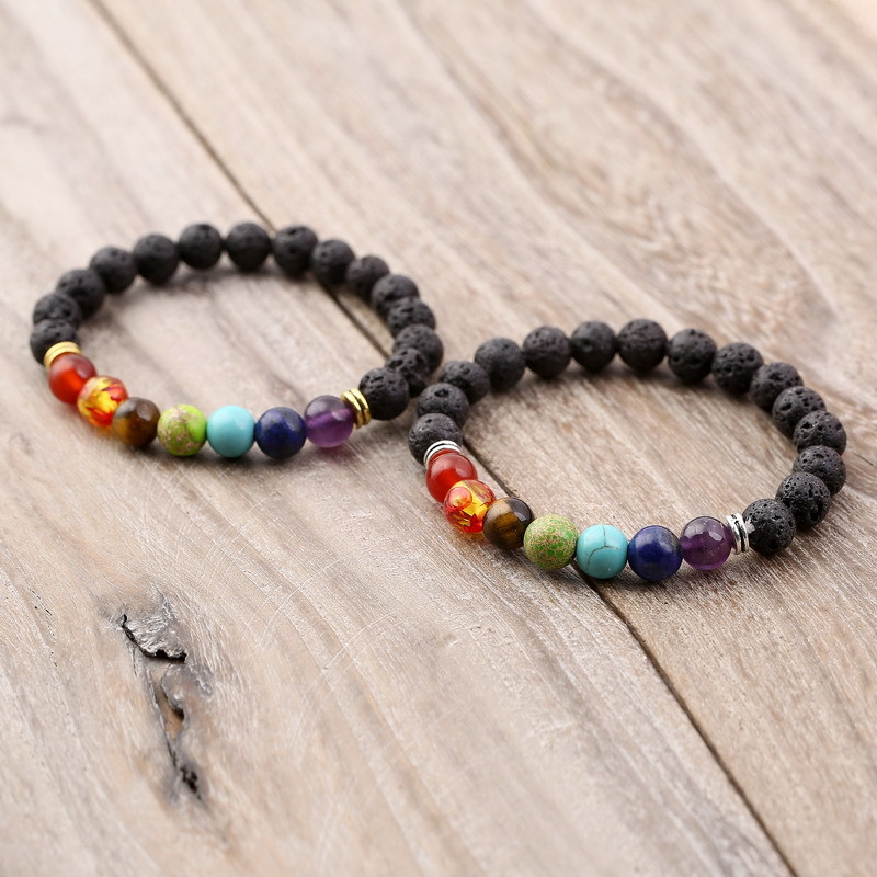 New Volcanic Rock 8MM 7 Chakra Bracelet Bracelets Mixed Color Crystal Stone Chakra Healing Bracelet Jewelry Of Praying