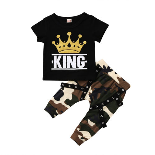 Toddler Kids Baby Boys Tops King Crown T-Shirt Camo Pants 2Pcs Outfits Set Clothes 0-5T Short Sleeve O-Neck Pullover image