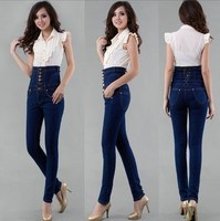 Big Size Women Slim Fit Pencil Jeans Pants Plus Size High Waist Skinny Jeans Black Blue