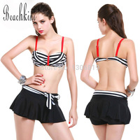 2015 NEW Skirt Bikinis BRAND LE BESI Three Pieces Set Swimsuit Strappy Bra With Steel Supports