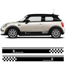 1 пара автомобиля боковой юбки наклейка на порог дверь наклейки на боковой стороне виниловые дверные боковые наклейки для MINI Cooper R50 R52 R53 R56 R57 R58 R59