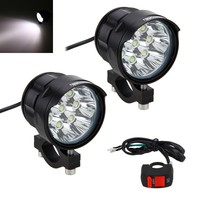 2PCS 4V 84V 80W 6000LM 6500K 8x XM L T6 LED Motorcycle Boat Spot Driving Headlight Motorbike Fog Head Light Lamp with Switch