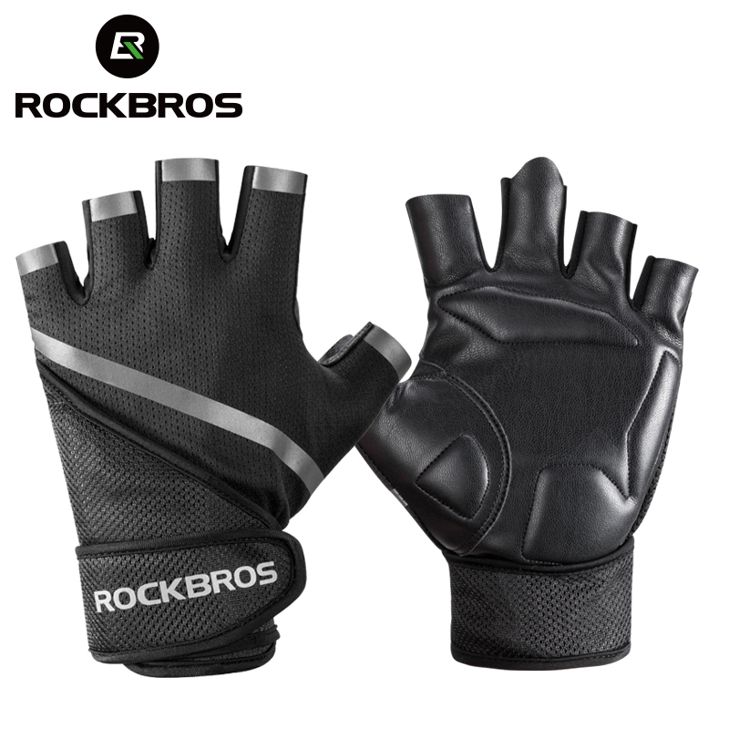 ROCKBORS Fitness Anti-Slip Gloves Breathable Workout Weight Lifting Gloves Sport Body Building Half Finger Protective Gym Gloves
