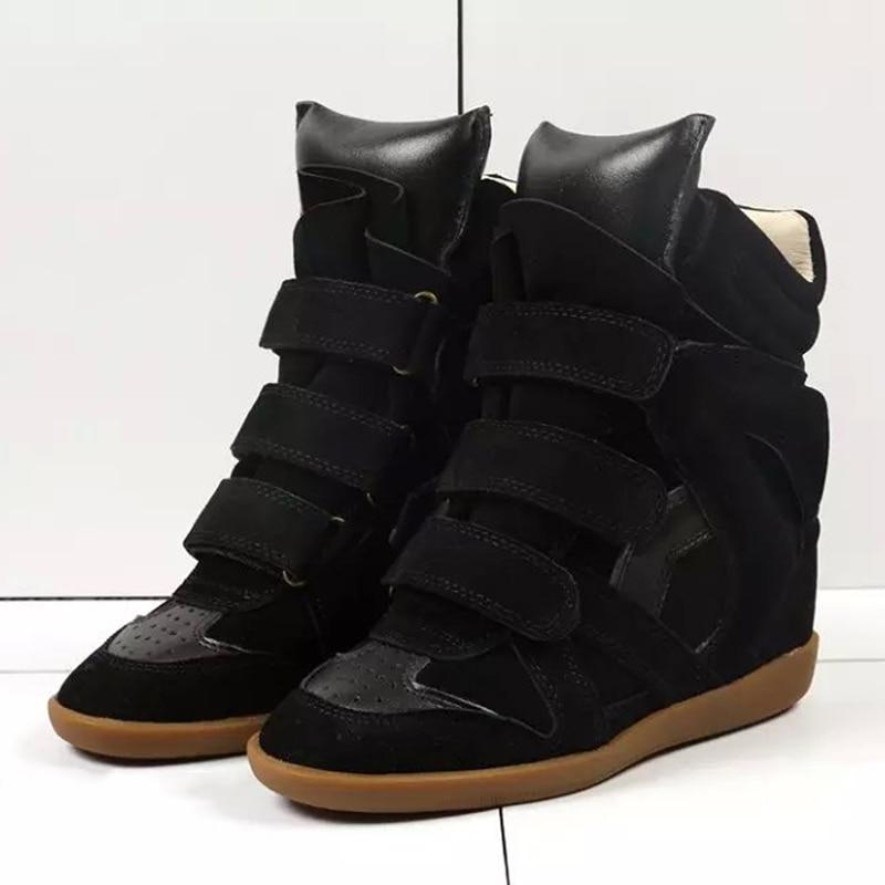 Юнис Choo Для женщин Ботинки на скрытой танкетке увеличивающие рост высокие кроссовки Крюк & Петля из натуральной кожи Замшевые женские туфли