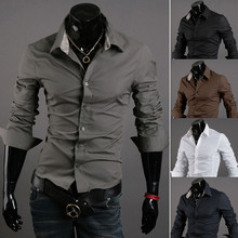 Brand New Men s Casual Shirt Social Solid Color Shirt Full Sleeve Turn Down Collar
