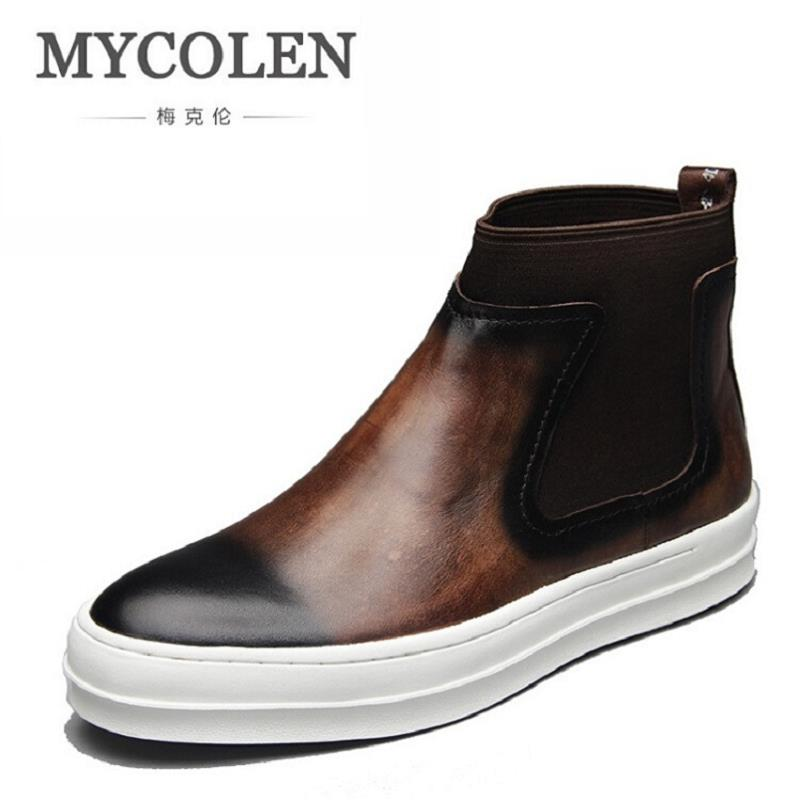 MYCOLEN Genuine Leather Autumn Winter Shoes Men High Quality Chelsea Boots Italian Designer Male Brand Ankle Boots Sapato mycolen spring autumn men genuine leather chelsea boots vintage pointed toe ankle outdoor boots wear resistant male shoes