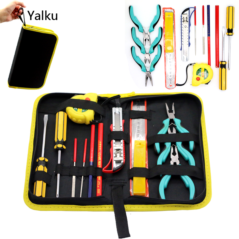 Yalku Repair Tool Combination Package Screwdrivers Hand Tools Set Tool Kit Woodworking Pencil Utility Knife File Plier Set combination of hand tools 16pcs screwdrivers pilers variable tools household tool sets hand tools set