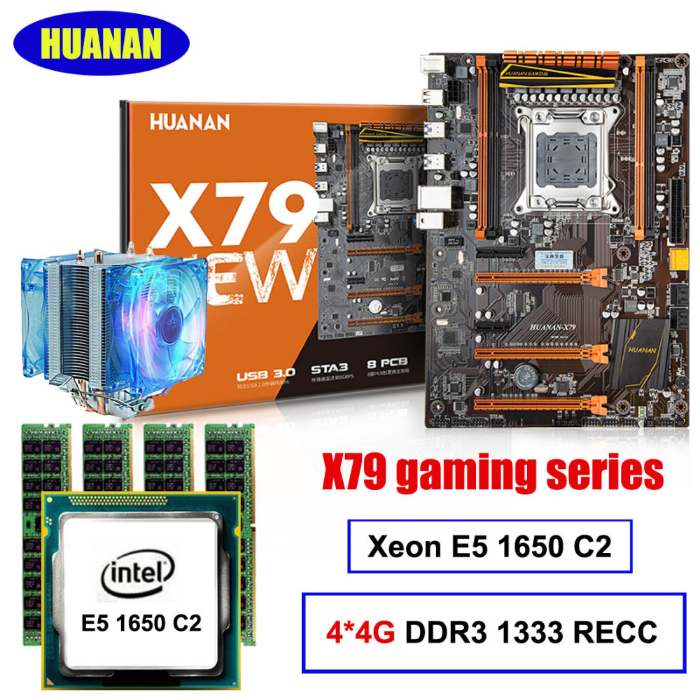 Hot selling Deluxe HUANAN X79 motherboard CPU RAM kit Xeon E5 1650 C2 with cooler RAM 16G(4*4G) DDR3 1333MHz RECC all tested deluxe edition huanan x79 lga2011 motherboard cpu ram combos xeon e5 1650 c2 ram 16g 4 4g ddr3 1333mhz recc gift cooler
