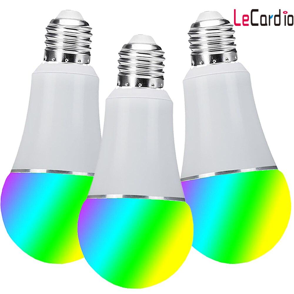 3 PC Pack Wifi ampoule, E27 E26 B22 16 millions rvb couleur lampe de scène Compatible avec Alexa Google Home Phone App 60 W équivalent - 2