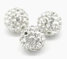 10Pcs Clear Pave Rhinestone Ball Spacers Beads Jewelry Findings Charms Component Wholesales 10x10mm