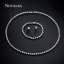 NEWBARK Top Quality Jewelry Sets 3 Prong 1 pair Stud Earrings 1 Pcs Necklace & 1 Luxury Bracelet Ladies Women Wedding Decoration