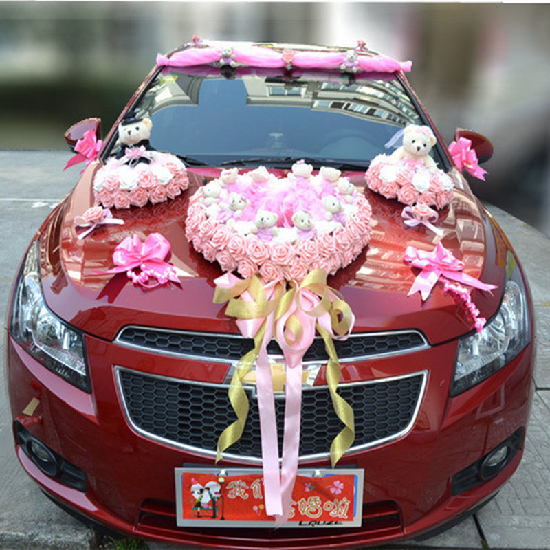 Luxury car flower design decoration kit wedding car for Automotive decoration