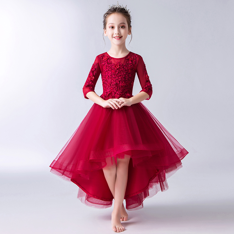 Flower Girl Dresses for Wedding Evening Gowns Half Sleeve Short Front Long Back Princess Dress Birthday Appliques Party DressFlower Girl Dresses for Wedding Evening Gowns Half Sleeve Short Front Long Back Princess Dress Birthday Appliques Party Dress