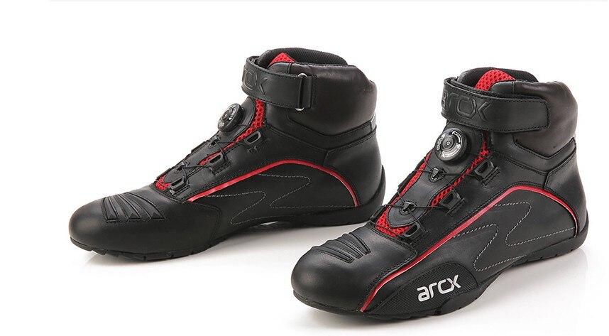 Mode Arcx nouveau design boucle rotative moto bottes de protection course vélo moto chaussures d'équitation hommes cruiser chaussures d'équitation