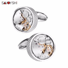 SAVOYSHI Mechanical Watch Movement Cufflinks for Mens Shirt Cuff button High Quality Silver Round Cuff link Brand Jewelry Design kflk jewelry shirt cufflinks for mens brand silver watch movement mechanical cuff links buttons male high quality free shipping