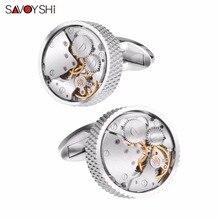 Savoyshi relógio mecânico movimento abotoaduras para homens camisa botão manguito de alta qualidade cor prata redonda manguito ligação marca jóias