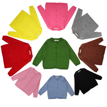 Sweet Kids Girls Candy Color Knitted Sweater Cardigans Multi Color Cute Children Spring Autumn Fashion Jackets