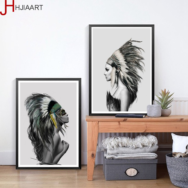 HJIAART No Frame Canvas Painting Native American Indian Girl Feathered Poster Wall Picture Modern Home Wall Art Decor Print