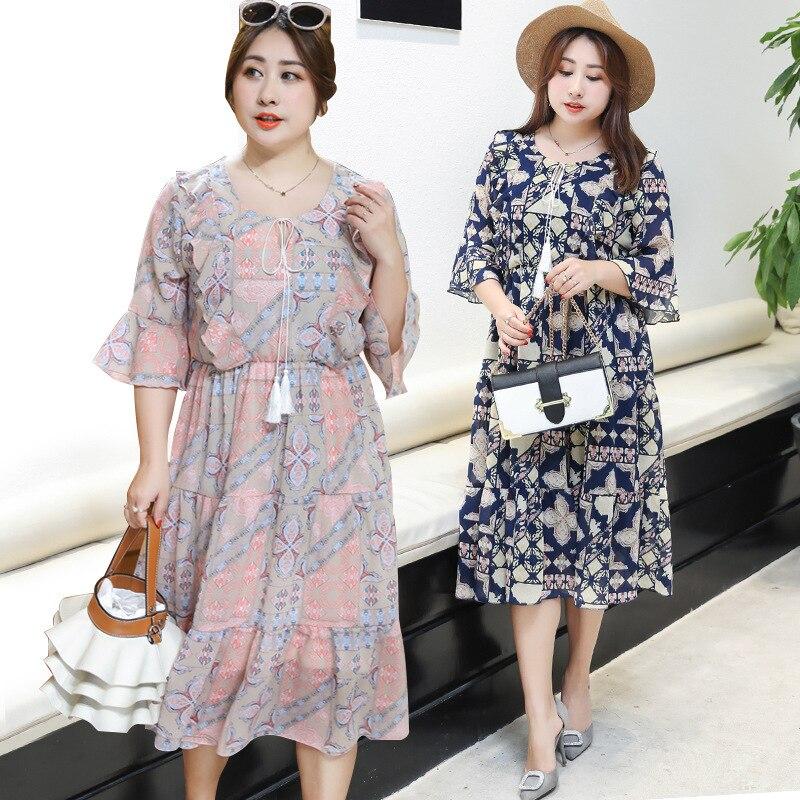 TUHAO 2018 Summer Bohemian CHIFFON Butterfly Sleeve Loose Pretty Beach Dresses Print Floral Ruffles Tunic Oversize 4XL 3XL LQ59
