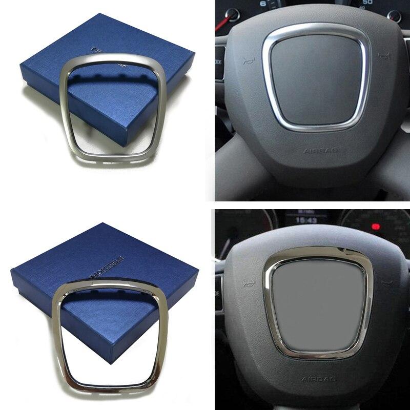 Abs chrome adesivo volante guarnição emblema logotipo anel quadro de lantejoulas capa acessórios do carro para audi a3 a4 b6 b7 b8 a5 a6 q5 q7