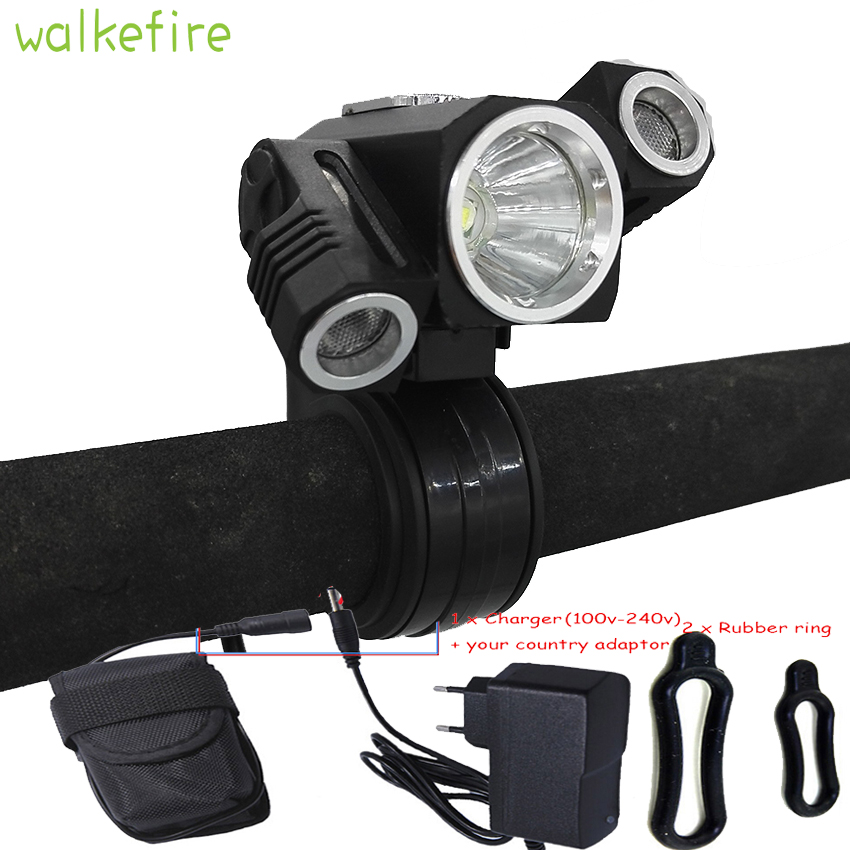 Walkefire 5000lm 3 led Front Bike Rechargeable Led light  Rechargeable Mountain Mtb Cycling accessories lamp+18650 battery pack 3 6v 2400mah rechargeable battery pack for psp 3000 2000