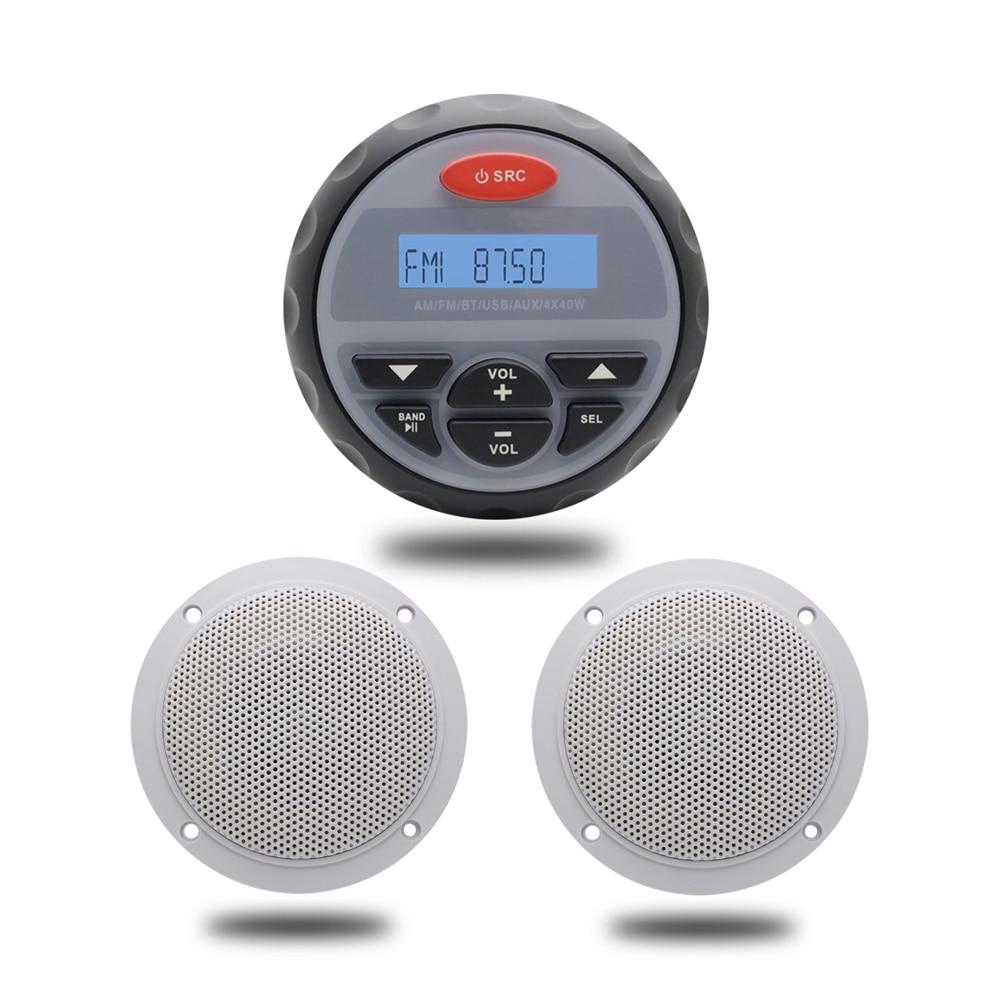 """4.5"""" Водонепроницаемый морской калибра Радио FM AM с Bluetooth аудио стерео +4 дюйма 2 способ Белый морской катер IP66 Водонепроницаемый ораторов"""